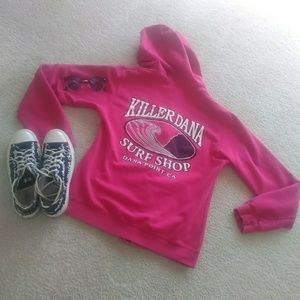 killer dana Tops - KILLER DANA SURF SHOP-ZIP HOODIE/RASBERRY COLOR